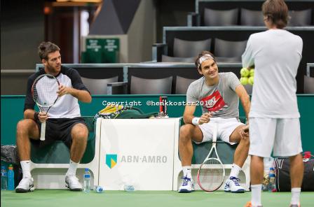 2013 Rotterdam - Federer Del Potro training 2