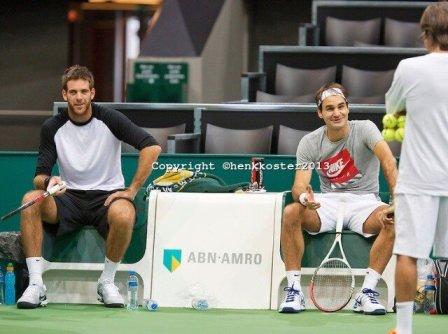 2013 Rotterdam - Federer Del Potro training